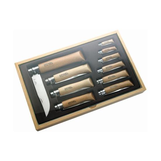 Набор из 10 складных ножей Opinel в деревянной коробке