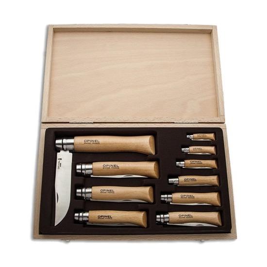 Набор из 10 складных ножей Opinel в деревянной коробке с крышкой